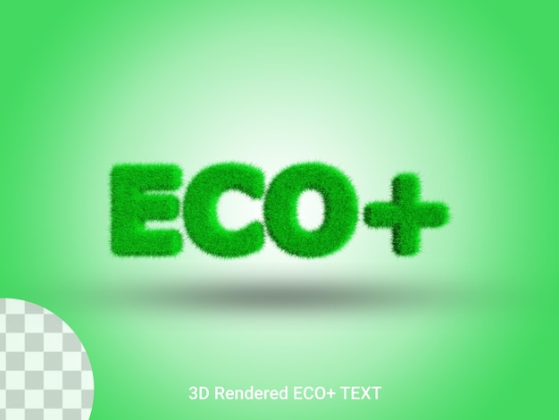 3d rendering eco più testo erba