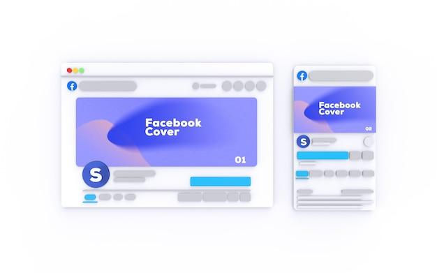 Mockup di facebook renderizzato in 3d