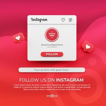Rendering 3d seguici sul mockup di post sui social media di instagram