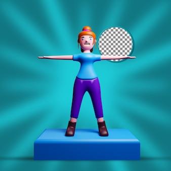 Illustrazioni di personaggi femminili con vista frontale in 3d con sfondo trasparente