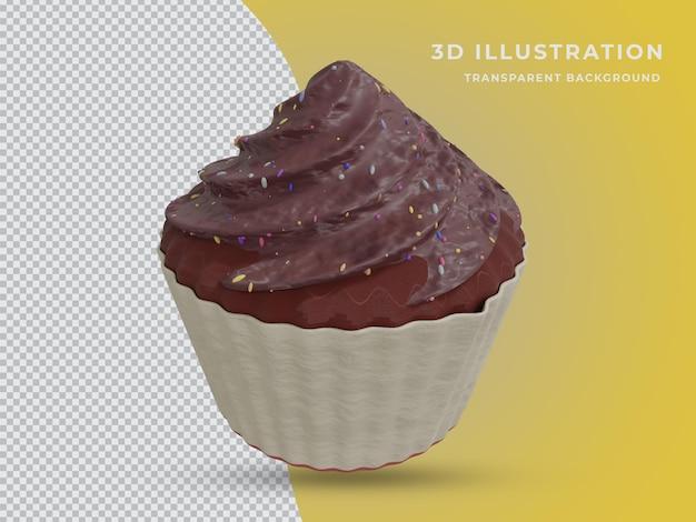 Vista frontale della foto di torta al cioccolato isolata resa 3d