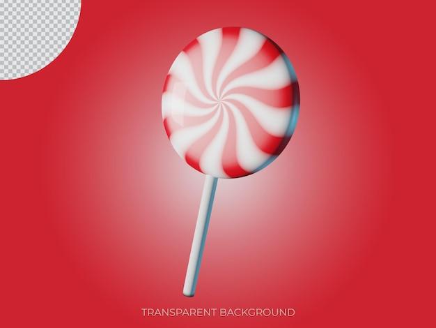3d ha reso l'icona dello sfondo trasparente della caramella di natale isolata