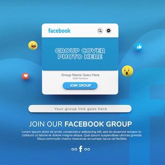 Rendering 3d unisciti al nostro mockup di post sui social media del gruppo facebook
