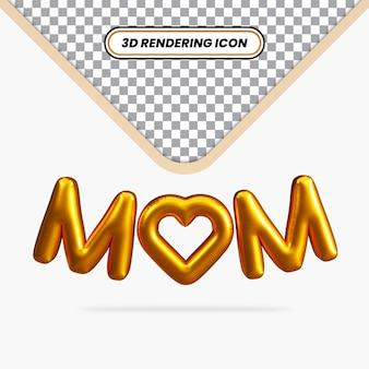 3d ha reso l'effetto di testo del palloncino della mamma con l'icona dell'amore
