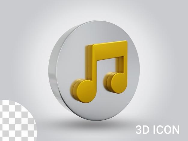 Vista sinistra del design dell'icona della musica con rendering 3d