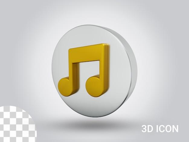 Vista destra del design dell'icona della musica renderizzata in 3d