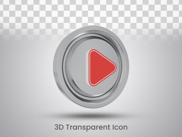 Vista laterale sinistra del design dell'icona del pulsante di riproduzione con rendering 3d