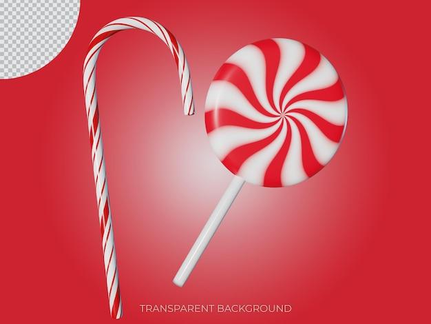 3d ha reso due icone di sfondo trasparente con caramelle a forma di bastoncino di natale