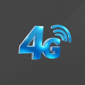 Rendering 3d della vista prospettica dell'icona del segnale internet di velocità 4g quattro di quarta generazione