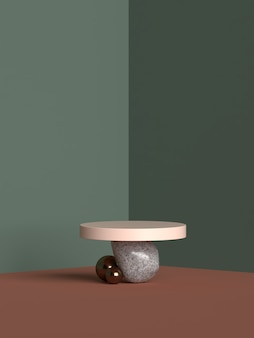Rendering 3d del podio di forma della geometria della scena astratta per la visualizzazione del prodotto
