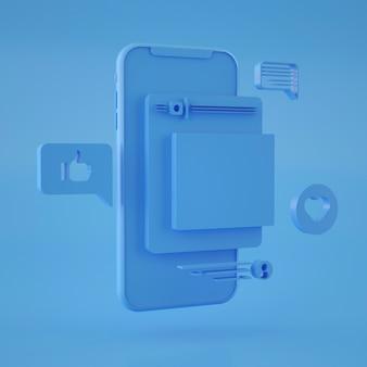 Rappresentazione 3d dell'interfaccia astratta dello smartphone