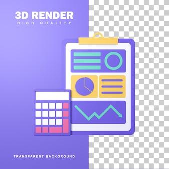 Rendering 3d contabilità con analisi dei dati e calcolatrice.