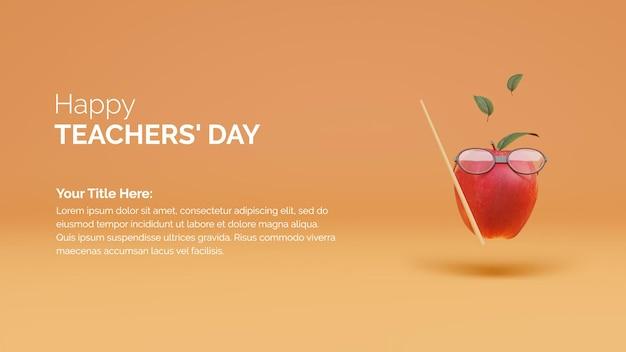 3d rendering mela con occhiali e canna celebrazione della giornata internazionale degli insegnanti Psd Premium