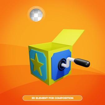 Rendering 3d della scatola di sorpresa del giorno degli sciocchi di aprile con emote isolato