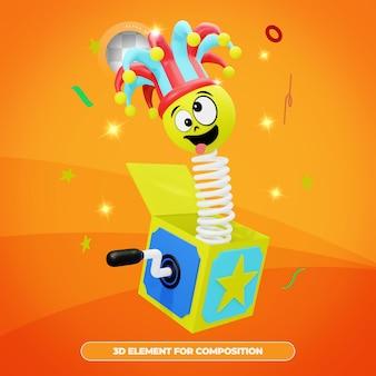 Rendering 3d della scatola di sorpresa del giorno degli sciocchi di aprile con emote isolato Psd Premium