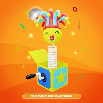 3d rendering april fools day scatola a sorpresa con emote giullare cappello