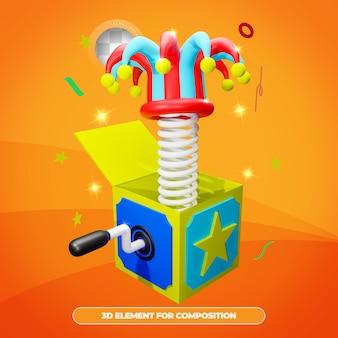 3d rendering april fools day scatola a sorpresa con cappello da giullare