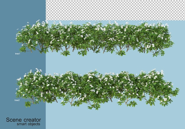 Rendering 3d di disposizione di alberi e fiori