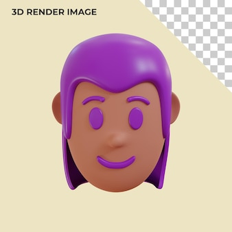 Rendering 3d della testa dell'avatar