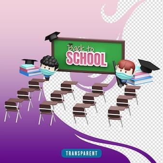 Rendering 3d dell'illustrazione del ritorno a scuola