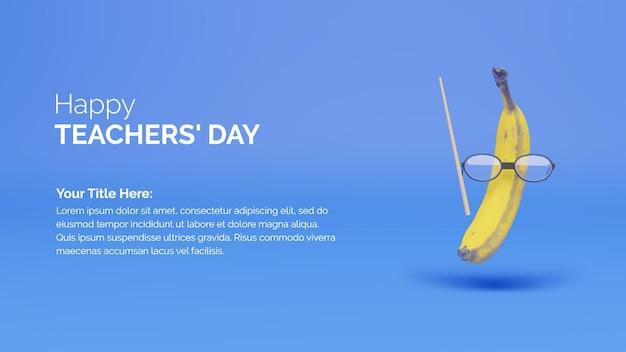 3d rendering banana con occhiali e canna celebrazione della giornata internazionale degli insegnanti