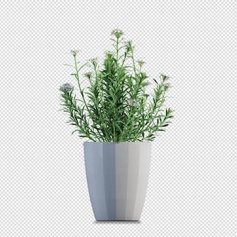 Rendering 3d di bellissimi fiori in vaso