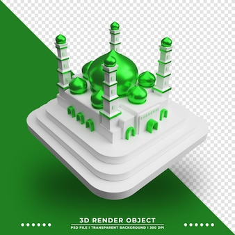 Rendering 3d della bellissima moschea islamica realistica