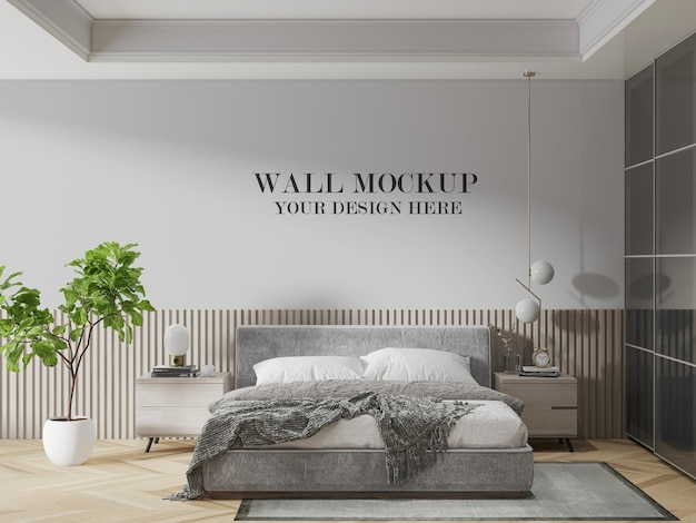 Modello di parete della camera da letto di rendering 3d