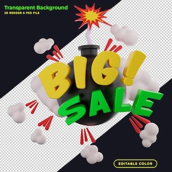 Banner di vendita grande rendering 3d