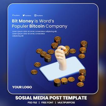 Rendering 3d del modello di post sui social media di criptovaluta bitcoin dalla tecnologia blockchain