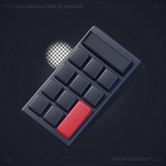 Rendering 3d icona calcolatrice nera in modalità oscura