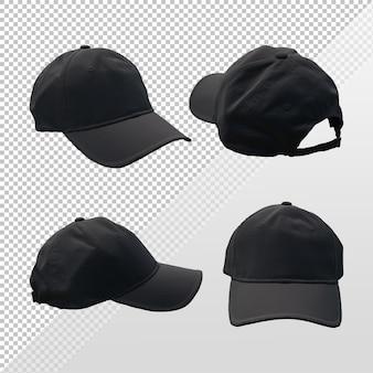 Rendering 3d del modello di cappello con berretto nero da vari angoli di vista prospettica