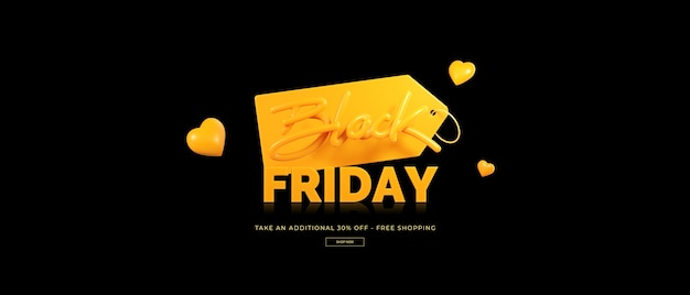 Rendering 3d di vendita venerdì nero
