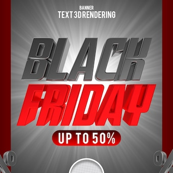 Banner di testo venerdì nero rendering 3d
