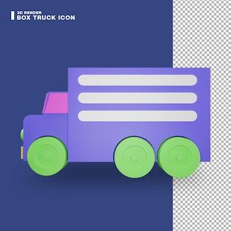 Icona del camion della scatola di rendering 3d