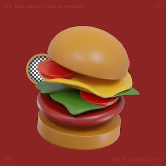 Immagine premium dell'icona del cibo dell'hamburger 3d rendering