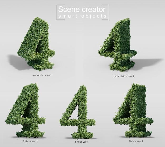 Rappresentazione 3d dei cespugli nella forma del numero 4