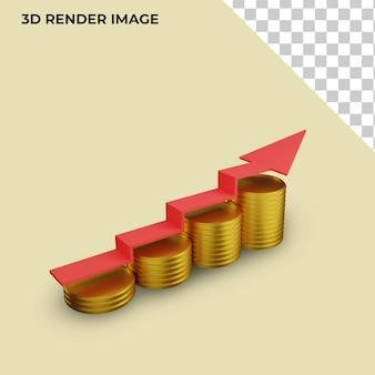 Rendering 3d di affari con concetto di reddito in aumento