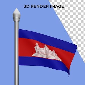 Rendering 3d del concetto di bandiera della cambogia giornata nazionale della cambogia