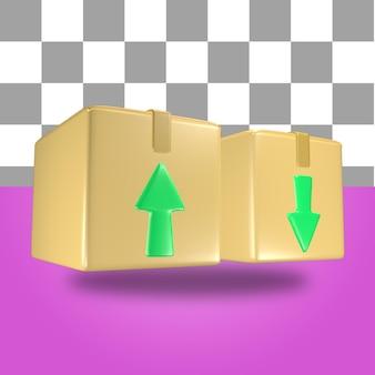 Rendering 3d dell'oggetto icona della scatola del pacchetto di cartone con freccia verde