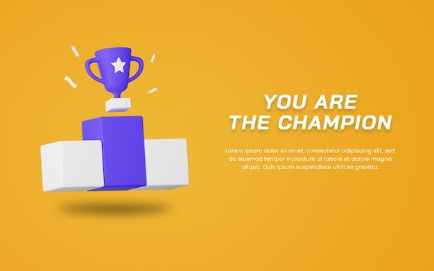 Modello di progettazione del sito web del trofeo del campione di rendering 3d. disegno dell'illustrazione sportiva.