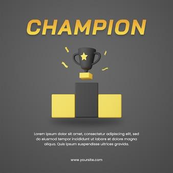 Trofeo campione di rendering 3d con modello di progettazione post social media a tema scuro