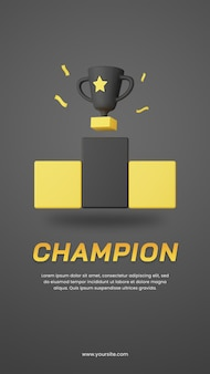 Trofeo campione di rendering 3d con modello di progettazione di storie di social media a tema scuro