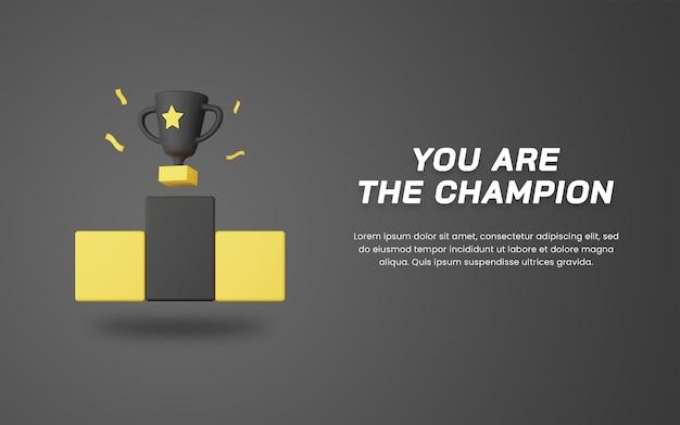 Trofeo campione di rendering 3d con modello di progettazione di siti web a tema scuro