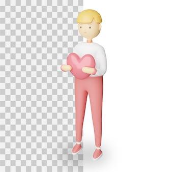 Il carattere della rappresentazione 3d porta il carattere di amore isolato