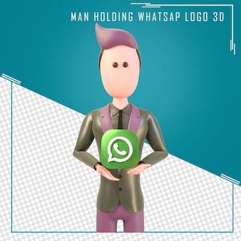 Rendering 3d di un personaggio con in mano il logo whatsapp
