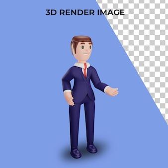 Rendering 3d del personaggio con il concetto di business