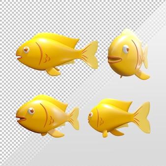 Carattere di rendering 3d di un pesce rosso giallo