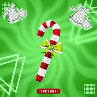 Rendering 3d di caramelle natalizie