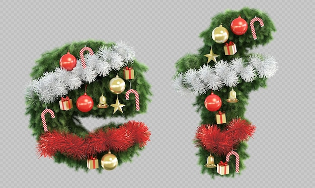 Rendering 3d di albero di natale lettera e e lettera f